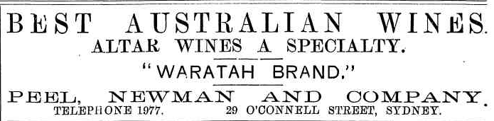 Peel Newman Waratah Australian Wine Advertisement 1895