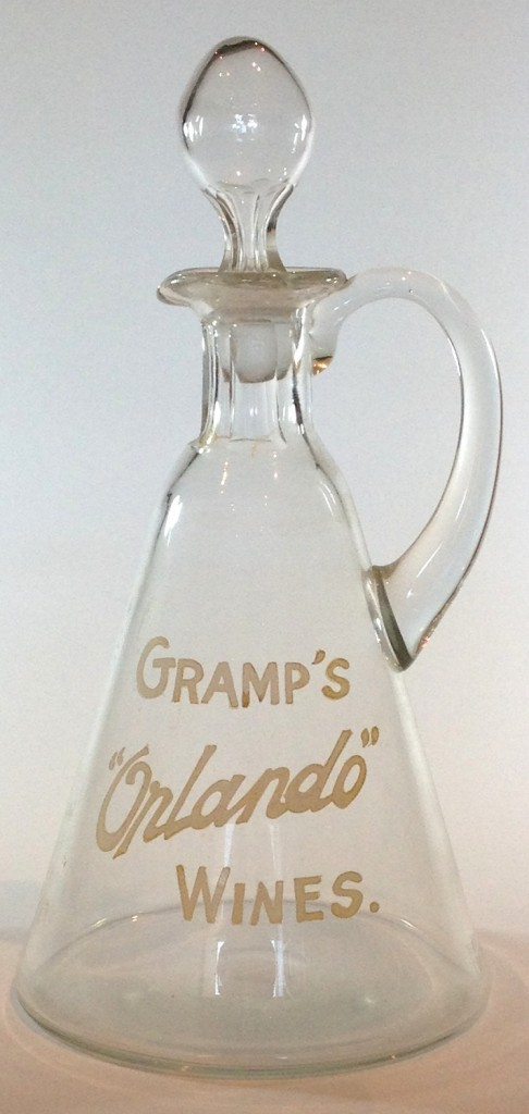 Gramps Orlando Wines Decanter. Enamelled decoration. c1920s.