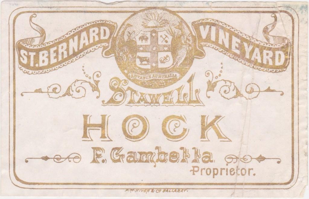 P. Gambetta, St Bernard Vineyard, Stawell. Hock Label. c1890s