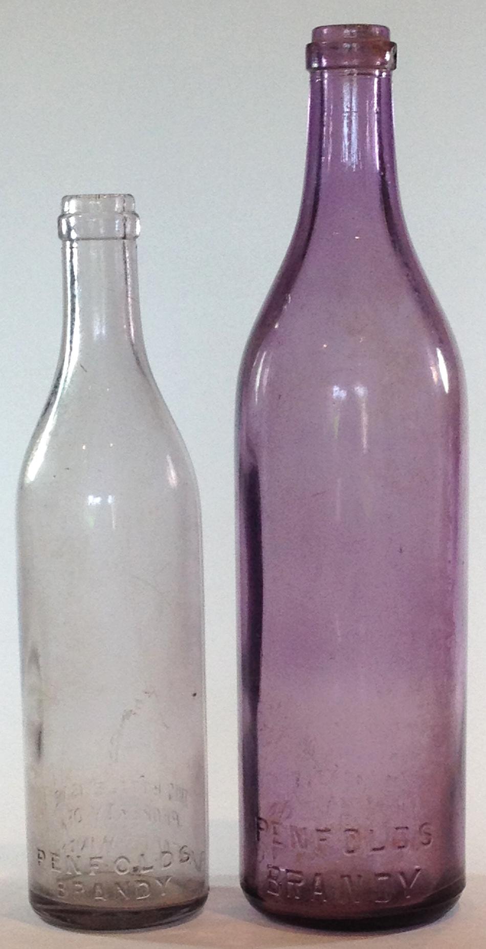 Large & Small Penfolds Brandy bottles. Circa 1920s.
