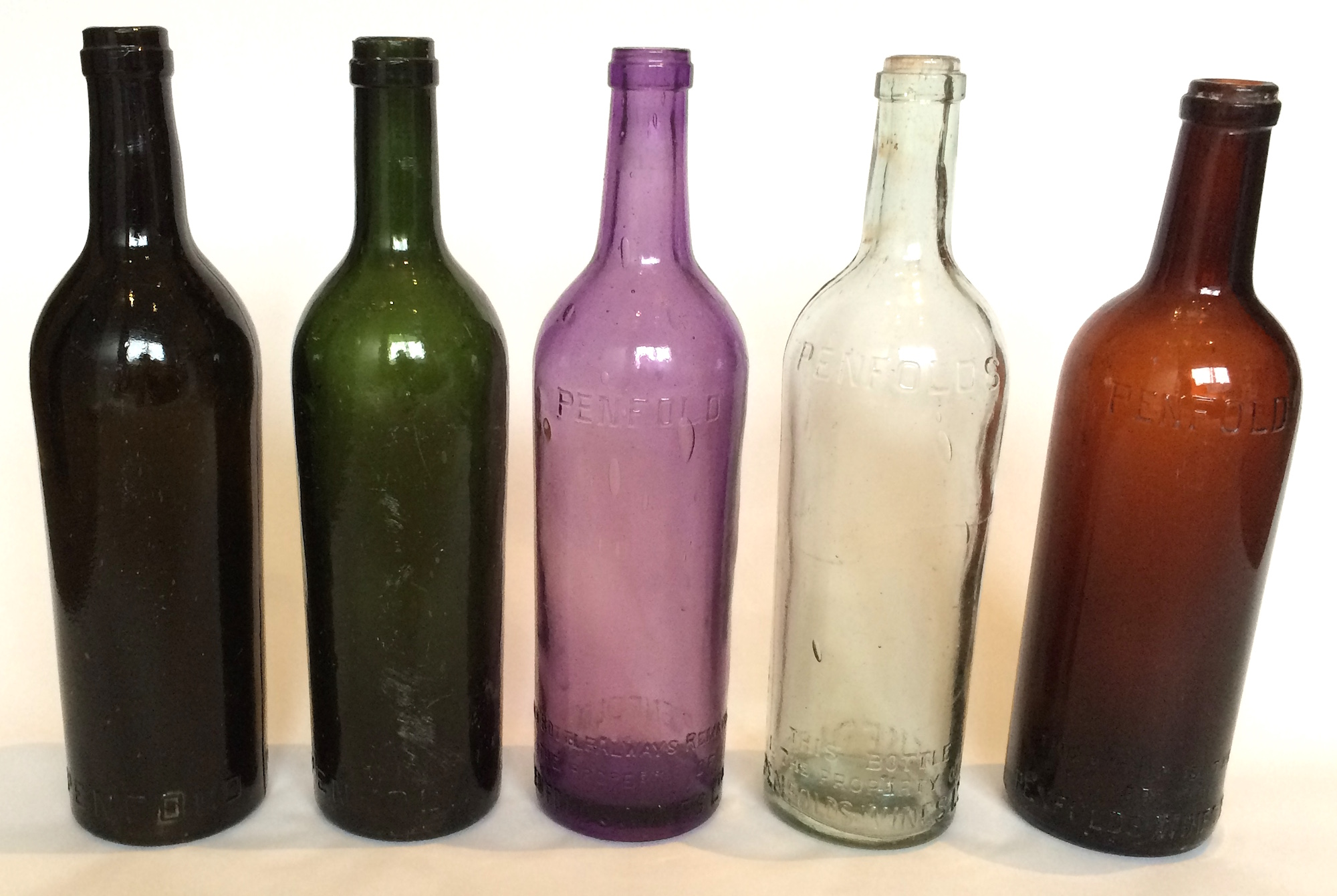 Penfolds Claret shaped bottles. c1910s-1930s