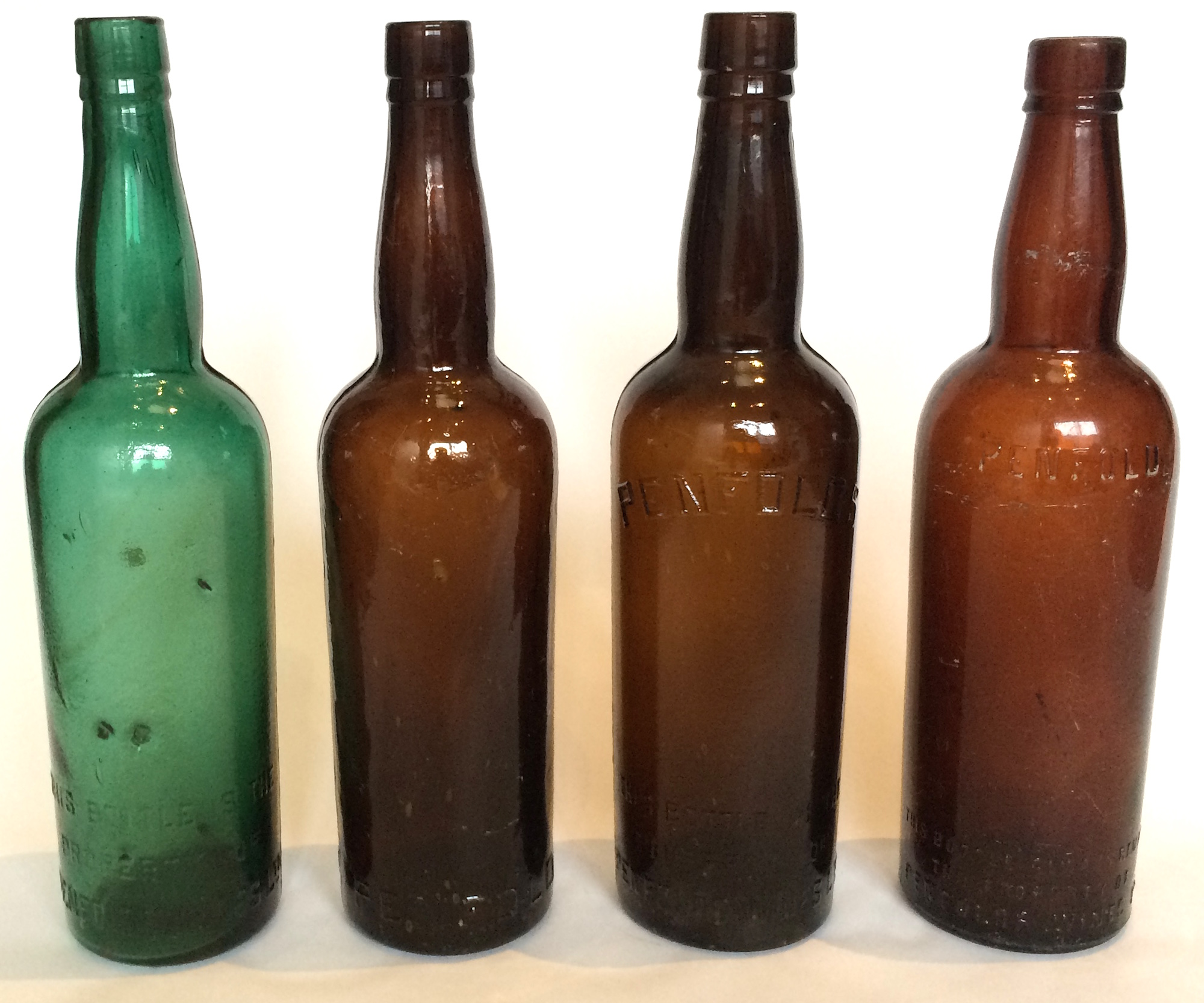 Penfolds Fortified bottles. c1910s-1930s